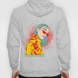 CUZ IM KOOL LIKE DAT - Asian Female with Blue Hair Digital Drawing Hoody