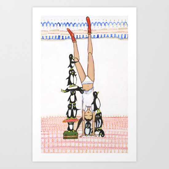Headstand with silly Penguins Art Print