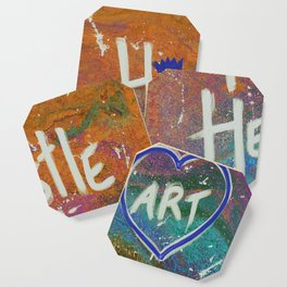 Hustle and Heart creates Art (Orange & Blue) Coaster