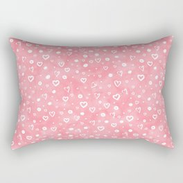 Blush pink white watercolor hand painted valentines day hearts Rectangular Pillow
