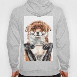 """"""" Morning fox """" Red fox with her morning coffee Hoody"""