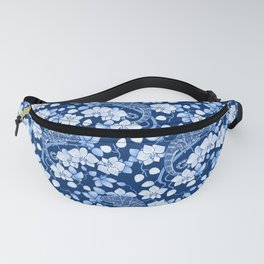 Chameleons and orchids (blue) Fanny Pack