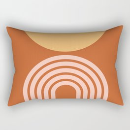 Geometric Lines in Rose Gold Terracotta 2 (Rainbow and Sun Abstract) Rectangular Pillow