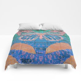 Wood Texture Alien Butterfly Boho Print Comforters