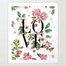 LOVE // Floral Typography Art Print