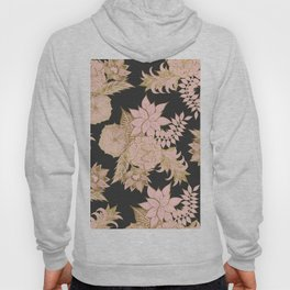 Girly Modern Blush Pink Gold Floral Illustrations Hoody