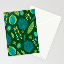 Tropical Flora 5 on Green Stationery Cards