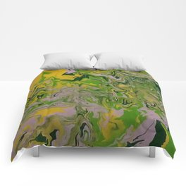 green mess abstract Comforters