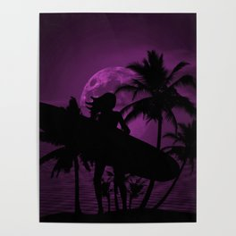 Purple Dusk with Surfergirl in Black Silhouette with Longboard Poster