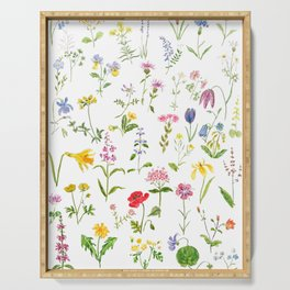 botanical colorful countryside wildflowers watercolor painting Serving Tray