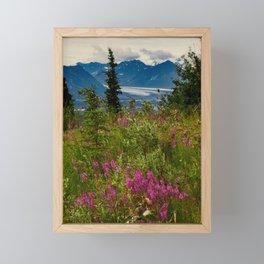 Alaskan Glacier & Fireweed Framed Mini Art Print