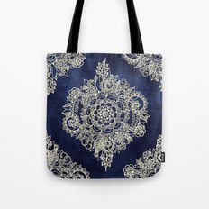 Cream Floral Moroccan Pattern on Deep Indigo Ink Tote Bag