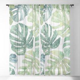 Tropical leaves Monstera leaves Jungle leaves Palm leaves Sheer Curtain