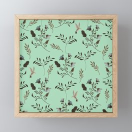 Mint Green and Bluebells and Bluebirds Floral Pattern Flowers in Blue and Bark Brown Framed Mini Art Print