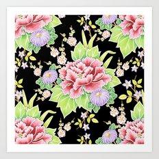 Kimono Bouquet Chintz Art Print