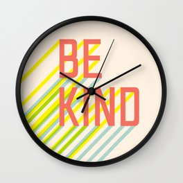 Be Kind typography Wall Clock