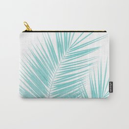 Soft Turquoise Palm Leaves Dream - Cali Summer Vibes #1 #tropical #decor #art #society6 Carry-All Pouch