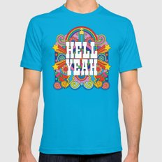 Hell Yeah Mens Fitted Tee Teal X-LARGE