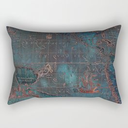 Antique Map Teal Blue and Copper Rectangular Pillow