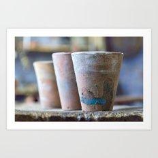 Three flower pots Art Print