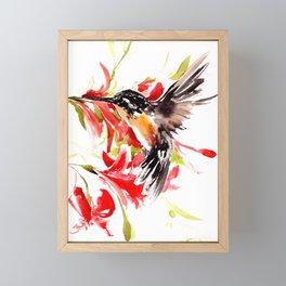 Flying Hummingbird and Red Flowers bird art design red gray Framed Mini Art Print