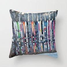 Skis Throw Pillow