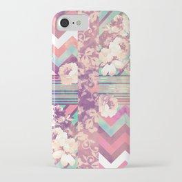 Retro Pink Turquoise Floral Stripe Chevron Pattern iPhone Case