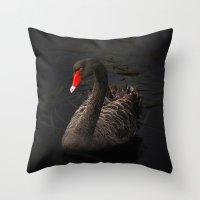 black swan Throw Pillows featuring Black Swan by Kristiana Art Prints