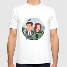 Mulder and Scully MEDIUM Mens Fitted Tee White