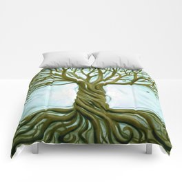 Blue and Brown Swirly Tree of Life by Renee Womack Comforters