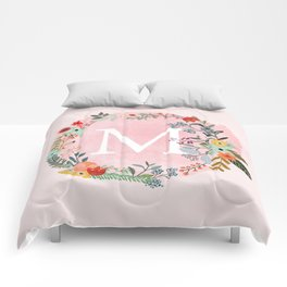 Flower Wreath with Personalized Monogram Initial Letter M on Pink Watercolor Paper Texture Artwork Comforters