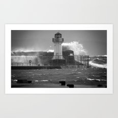 Ardrossan Lighthouse Versus the Sea Art Print