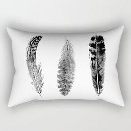 Feather Trio | Three Feathers | Bird Feathers | Black and White | Rectangular Pillow