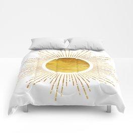 Golden Sunburst Starburst White Hot Comforters