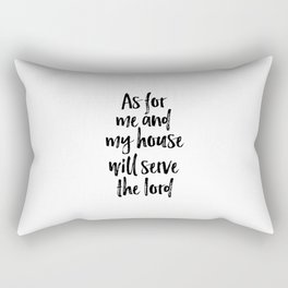 As For Me And My House We Will Serve The Lord, Christian Wall Quote, Home Decor Rectangular Pillow