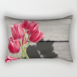 Pink Tulips & Shadow Wooden Background Rectangular Pillow