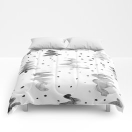 Black and White Chritmas Pines Comforters