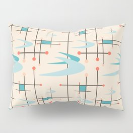 Mid Century Modern Boomerangs, blues on cream Pillow Sham