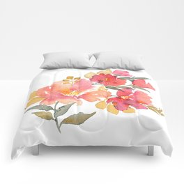 Delicate florals. Watercolor flowers. Lovely bouquet for girl. Comforters