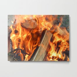 Fire fire burns twigs and wood Metal Print