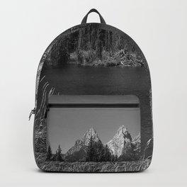Tetons in Black and White - Grand Teton at Schwabacher Landing in wyoming Backpack