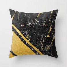 Gold Corner Black Marble Throw Pillow