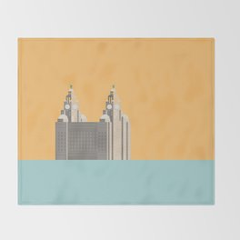 Liverpool Liver Building Print Throw Blanket