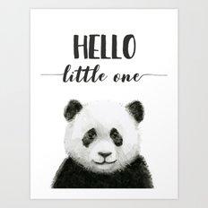 Panda Art Print Baby Animals Hello Little One Nursery Decor Art Print