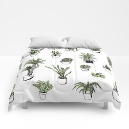 Plant Wall Succulent Pattern Comforters