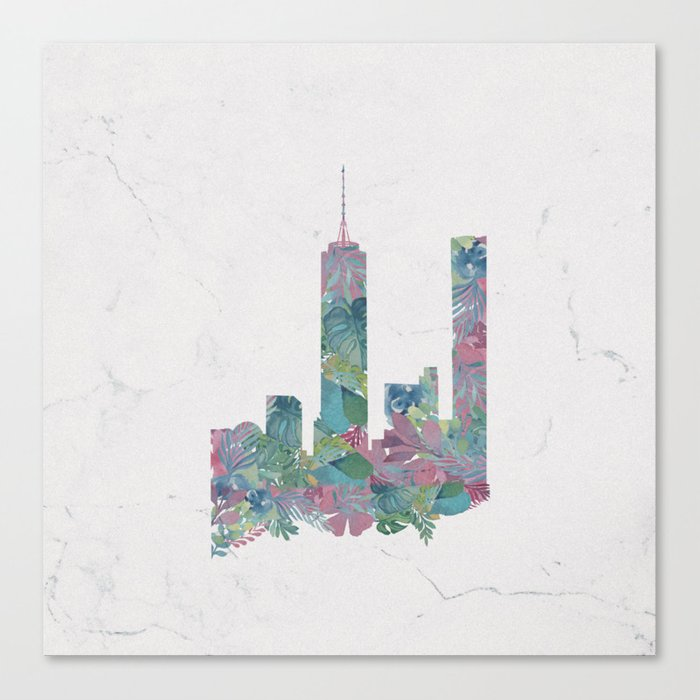 One World Trade Center Floral New York City Skyline Canvas