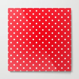 Carmine Red with White Polka Dots Metal Print