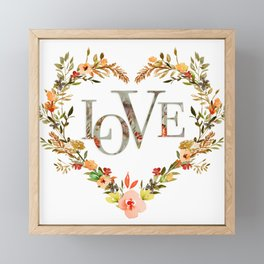 Floral Heart & Love Typography Framed Mini Art Print