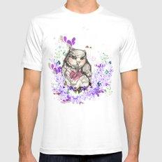 Little Owl White MEDIUM Mens Fitted Tee