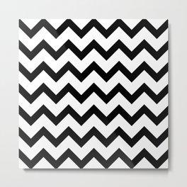 Simple Black and white Chevron pattern Metal Print